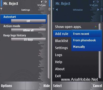 مسدود کردن شماره ها در گوشی Mr. Reject Lite Call Blocker S60v5